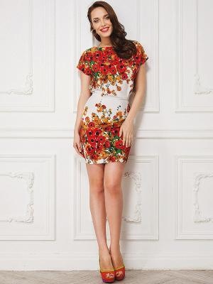 Платье La vida rica. Цвет: красный, белый, зеленый, рыжий