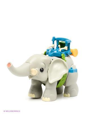 Игрушка Слон с фигуркой человека 1Toy. Цвет: светло-серый, бирюзовый, коричневый