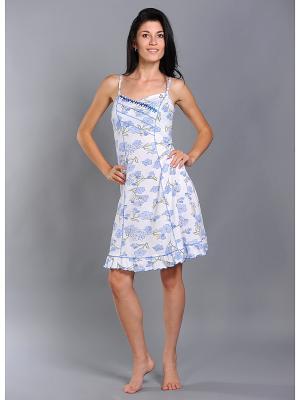 Сорочка ночная женская Тефия. Цвет: синий, зеленый, голубой, белый