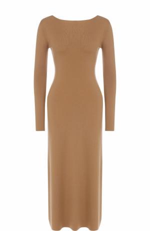 Платье-миди из смеси кашемира и шелка с V-образным вырезом Alexander Terekhov. Цвет: коричневый