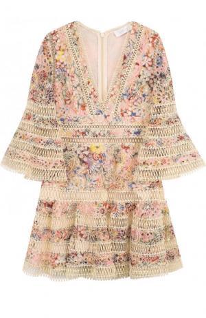 Приталенное кружевное мини-платье Zimmermann. Цвет: разноцветный