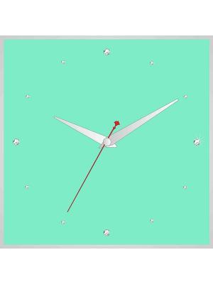 Часы в алюминиевой рамке со стразами 400*400мм ДСТ. Цвет: салатовый