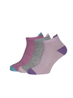 Носки, 3 пары HOSIERY. Цвет: серый, бледно-розовый, розовый