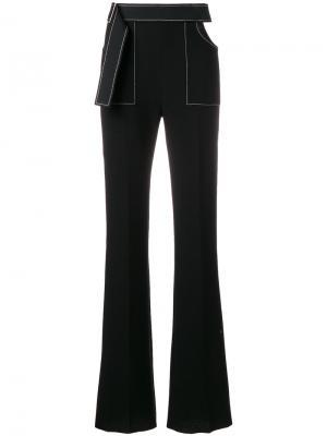 Расклешенные брюки с контрастной строчкой David Koma. Цвет: чёрный