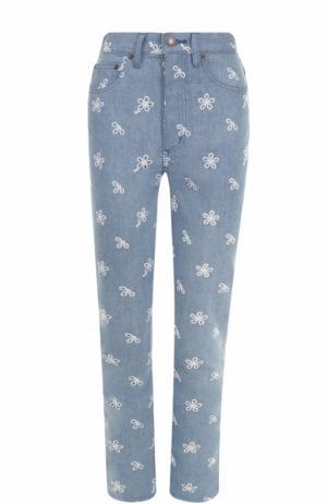 Джинсы с завышенной талией и вышивкой Marc Jacobs. Цвет: голубой