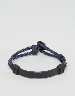 Icon Brand Темно-синий плетеный браслет. Цвет: темно-синий
