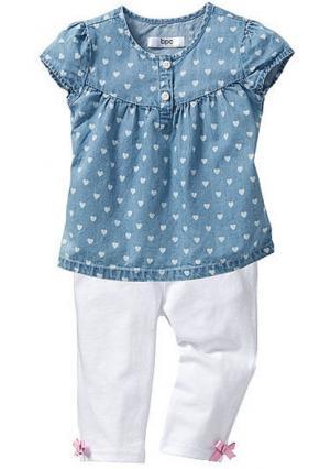 Комплект: джинсовая блузка + легинсы 3/4. Цвет: голубой варенка/белый