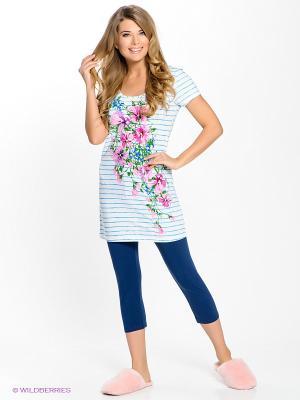 Пижама PELICAN. Цвет: темно-синий, бирюзовый, белый