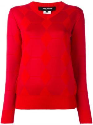 Жаккардовый джемпер с V-образным вырезом Junya Watanabe Comme Des Garçons. Цвет: красный