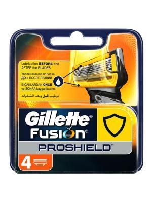 Сменные кассеты Gillette Fusion ProShield (4 шт.). Цвет: желтый, синий