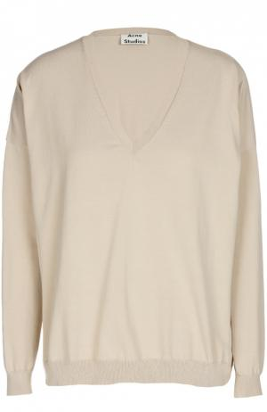 Пуловер прямого кроя с V-образным вырезом Acne Studios. Цвет: бежевый