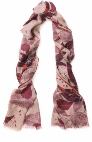 Кашемировая шаль с цветочным принтом Loro Piana. Цвет: бордовый