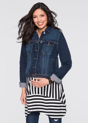Мода для беременных: джинсовая куртка (темно-синий «потертый») bonprix. Цвет: темно-синий «потертый»