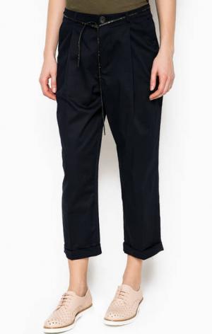 Темно-синие укороченные брюки Maison Scotch. Цвет: синий