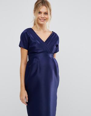 ASOS Maternity Платье для беременных с бантом сзади. Цвет: синий