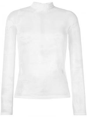 Прозрачная блузка с высоким воротником Each X Other. Цвет: белый
