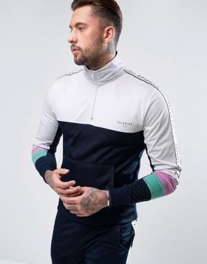 Illusive London Спортивная куртка через голову с кантом. Цвет: темно-синий