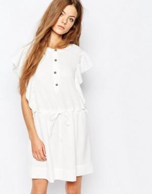 Vanessa Bruno Athé Жаккардовое платье с поясом Athe. Цвет: кремовый