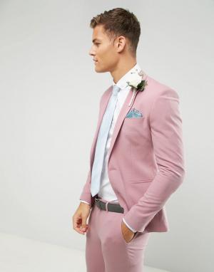 ASOS Розовый приталенный пиджак. Цвет: светло-бежевый
