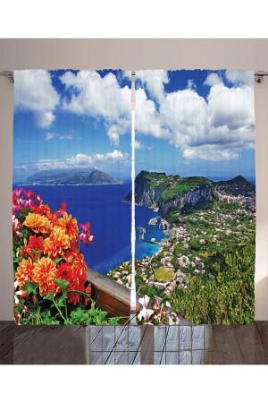 Комплект штор, 290x265 см MAGIC LADY. Цвет: голубой, зеленый