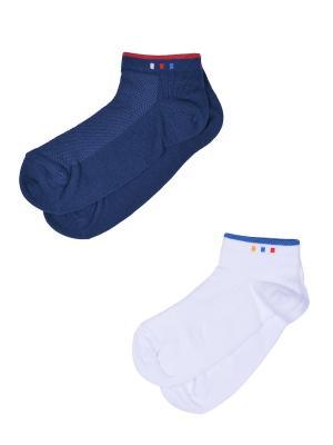 Носки, 2 пары Skinija. Цвет: синий, белый