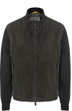 Куртка из замши с шерстяными рукавами Canali. Цвет: темно-серый