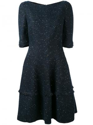 Платье в крапинку Talbot Runhof. Цвет: синий