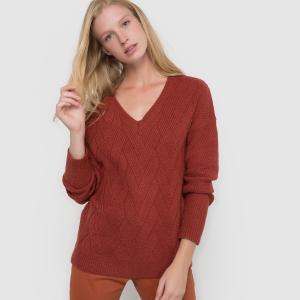 Пуловер с зигзагообразным узором и  V-образным вырезом La Redoute Collections. Цвет: кирпично-красный