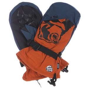 Варежки сноубордические  Bear Claw Orange Pow. Цвет: оранжевый,синий