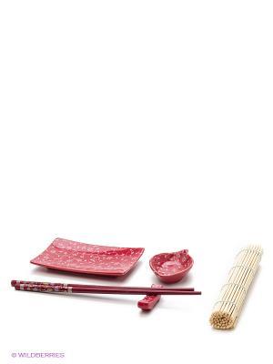 Набор для суши Узор на красном Elan Gallery. Цвет: черный, красный