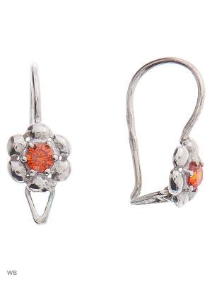 Серьги детские ACCENT jewelry. Цвет: оранжевый