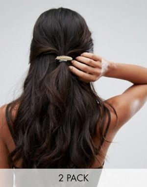 Orelia Резинки для волос с металлическим листиком. Цвет: золотой