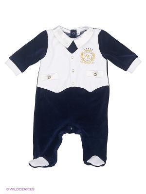 Комбинезон с эффектом жилета вышивкой, Эстет Soni kids. Цвет: белый, синий