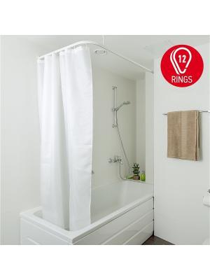 Tatkraft GRAIN Тканевая штора для ванной комнаты c металлическими кольцами в комплекте. Цвет: белый