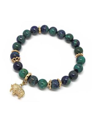 Браслет из хризоколлы KARMONIA. Цвет: темно-синий,зеленый,золотистый