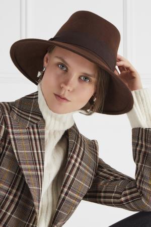 Коричневая фетровая шляпа Max Mara. Цвет: коричневый