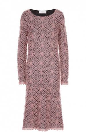 Вязаное кружевное платье с круглым вырезом Tak.Ori. Цвет: розовый