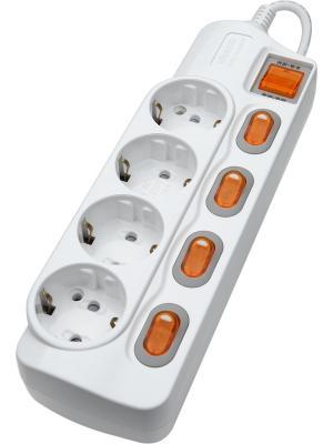 Энергосберегающий сетевой фильтр 4 поста  3м с заземлением Daesung. Цвет: белый
