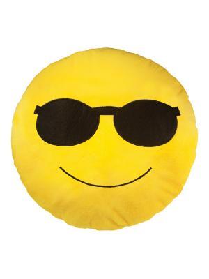 Большая подушка-смайлик Крутой 35 см SOXshop. Цвет: желтый
