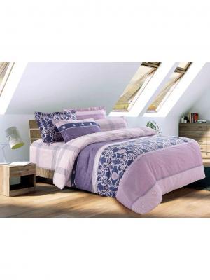 Комплект постельного белья Евро Ля Мур. Цвет: синий, фиолетовый