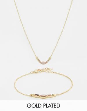 Neve & Eve Подарочный набор с ожерельем и браслетом. Цвет: золотой