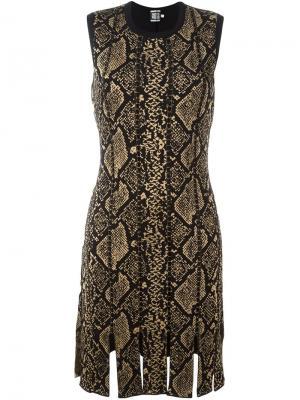 Платье с принтом змеиной кожи Fausto Puglisi. Цвет: чёрный