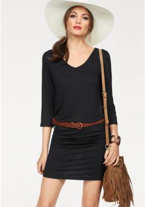 Платье MELROSE. Цвет: серый меланжевый, черный