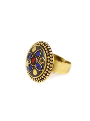 Кольцо Цветок Лазурит MZ0285 Indira. Цвет: синий