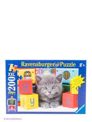 Пазл Котенок с кубиками XXL, 200 элементов Ravensburger. Цвет: синий