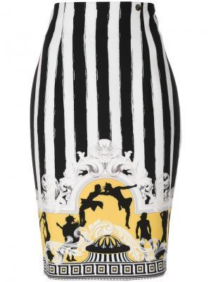 Юбка с узором в барочном стиле Versace Collection. Цвет: чёрный