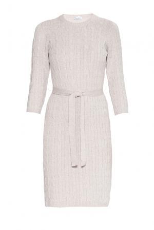 Платье из шерсти с поясом 181143 Andre Maurice. Цвет: бежевый
