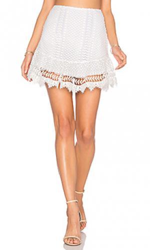 Кружевная юбка nora Karina Grimaldi. Цвет: белый