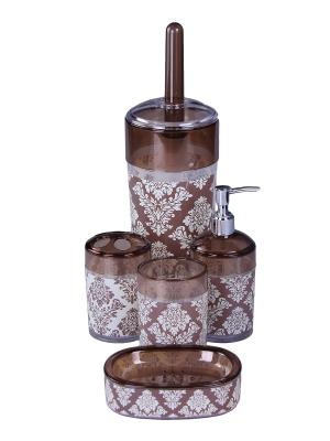 Набор для ванны 5 предметов: дозатор, подставка под зубные щетки, стакан, мыльница, ершик унитаз PATRICIA. Цвет: коричневый