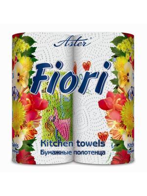 Полотенца Fiori2 рул.2-сл.4цв.печать неаром. Aster. Цвет: белый